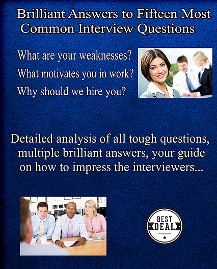 15 most common interview questions and answers, eBook cover, blue color